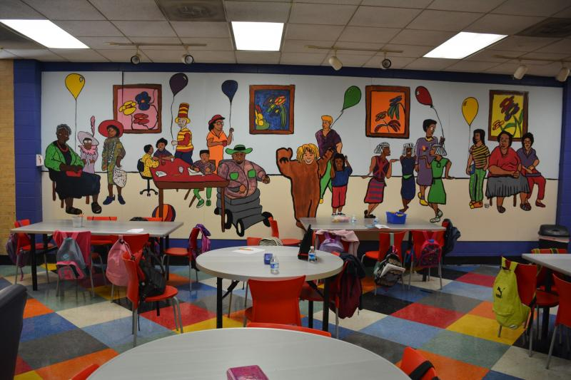 A volunteer-created mural at Agape's Bolton Road center in northwest Atlanta.