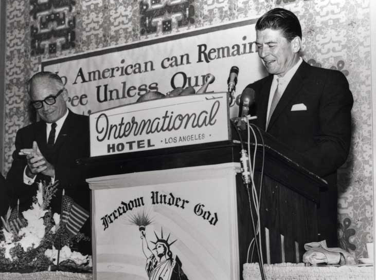 Ronald Reagan speaks for presidential candidate Barry Goldwater in Los Angeles in 1964.