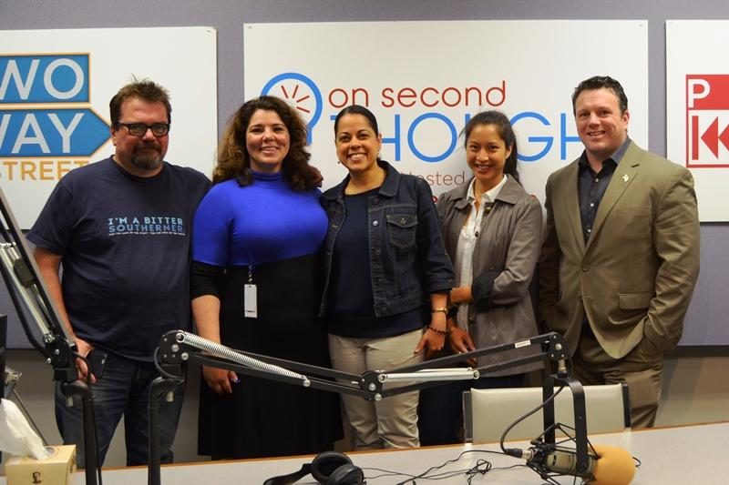 From left to right: Bitter Southerner Editor Chuck Reece, On Second Thought Host Celeste Headlee, Kennesaw State University Professor Roxanne Donovan, Athen's Warehouse Executive Director Bee Nguyen, and conservative radio host Greg Williams