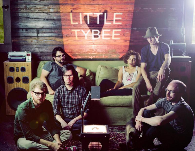 Members of Little Tybee (l to r): Ryan Donald (electric bass), Pat Brooks (drummer), Chris Case (keyboard), Nirvana Kelly (violin), Brock Scott (guitar, vocals) and Josh Martin (guitar)
