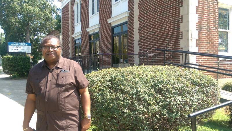 The Rev. Timothy McDonald, in front of First Iconium Baptist Church, where he is currently a pastor.