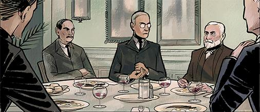 """President Woodrow Wilson (c) and industrialist Andrew Carnegie (r) help stop a terrorist group that threatens the world in the graphic novel """"The Jekyll Island Chronicles."""""""