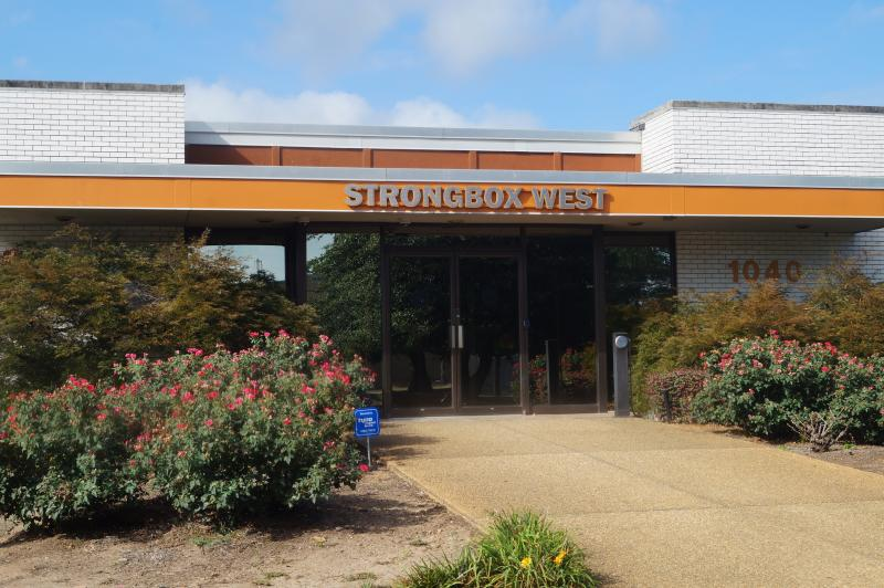 The outside of Strongbox West, a coworking space on the West side of Atlanta.