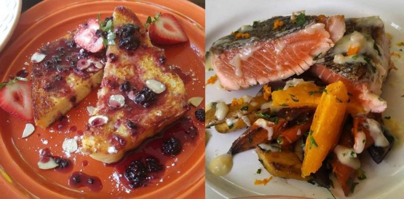 "Two dishes with marijuana that were made by Atlanta chef ""Jean,"" who wishes to use an alias for legal reasons. On the left, there is seared citrus salmon French Toast with marijuana blackberry syrup, and on the right there is a seared citrus salmon."
