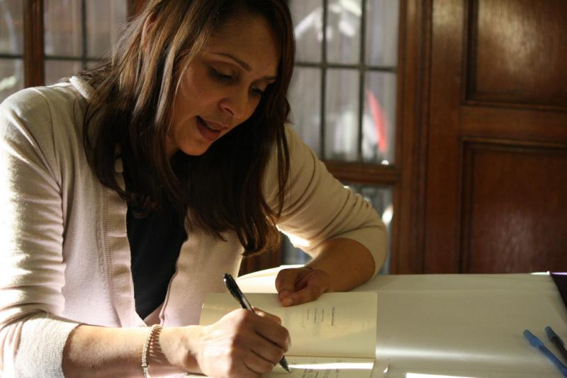Natasha Trethewey during book signing at the University of Michigan in 2011.