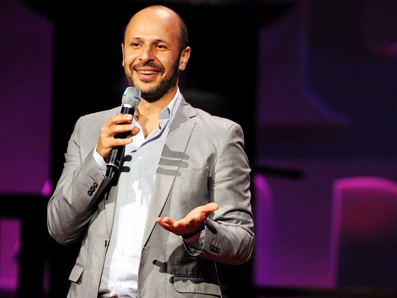 Comedian Maz Jobrani gives a TED Talk in 2010.