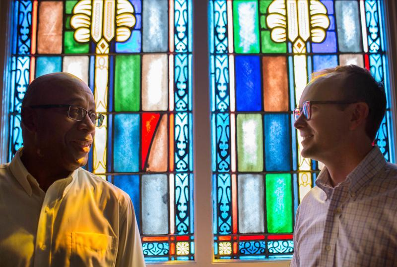 The Rev. James W. Goolsby, Jr., senior pastor of the First Baptist Church, left, and the Rev. Scott Dickison, senior pastor of First Baptist Church of Christ, right, pose for a photo at Dickison's church in Macon, Ga., on Monday, July 11, 2016.