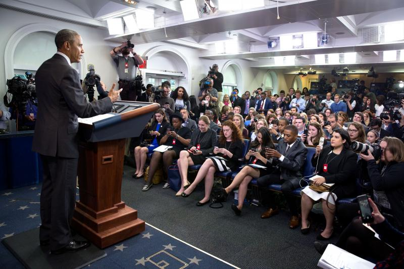 President Obama in the James S. Brady Press Briefing Room at the White House.