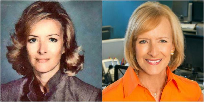 Judy Woodruff in the early 1980s (left) and a current photograph of the sole PBS NewsHour anchor.