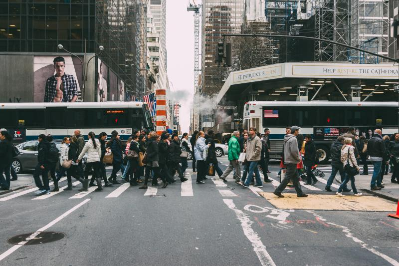 Pedestrians fighting to navigate New York streets