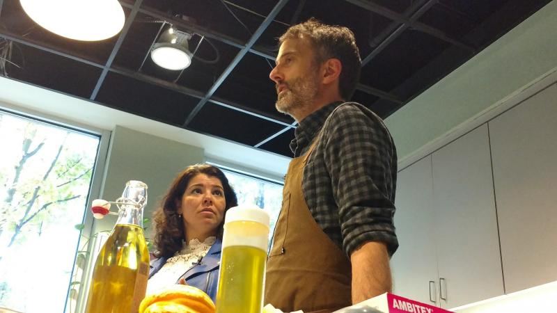 Host Celeste Headlee talks with Atlanta chef Steven Satterfield as he prepares to make some dishes using peanut oil.