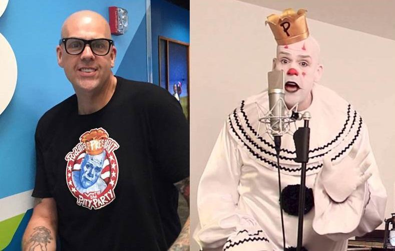 Atlanta singer Mike Geier (l) created the personnna Puddles the Clown (r).