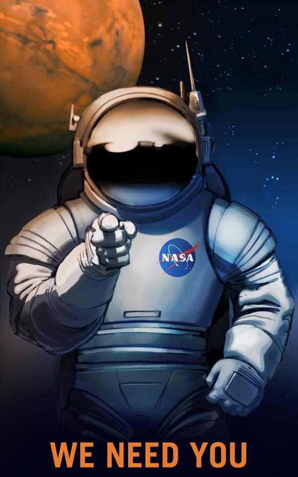 NASA Mars exploration poster.
