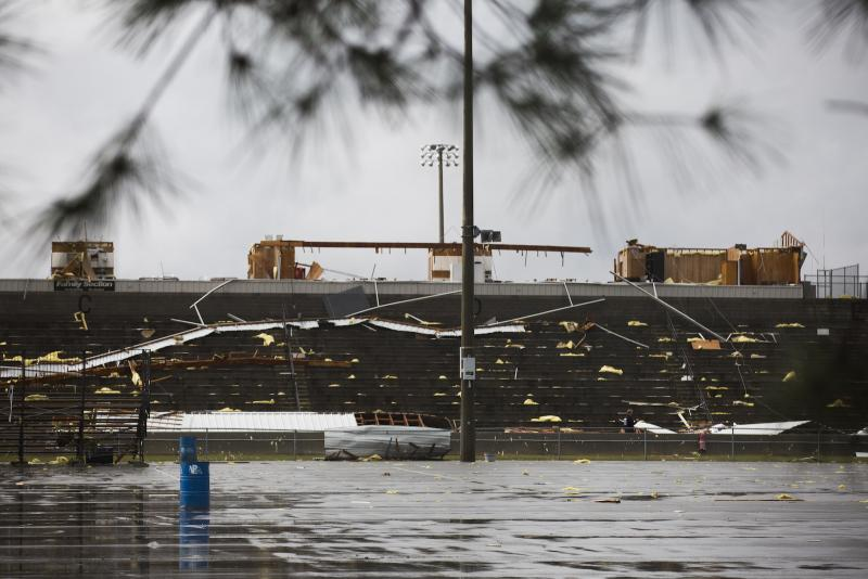 The grandstand of a drag strip damaged by the storm that hit Adel and Cook County Georgia Saturday, Jan. 21.