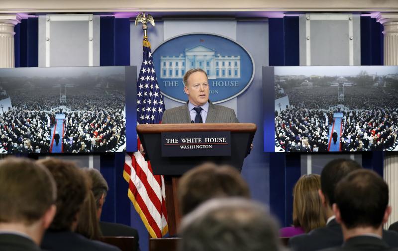 White House press secretary Sean Spicer speaks at the White House, Saturday, Jan. 21, 2017 in Washington.