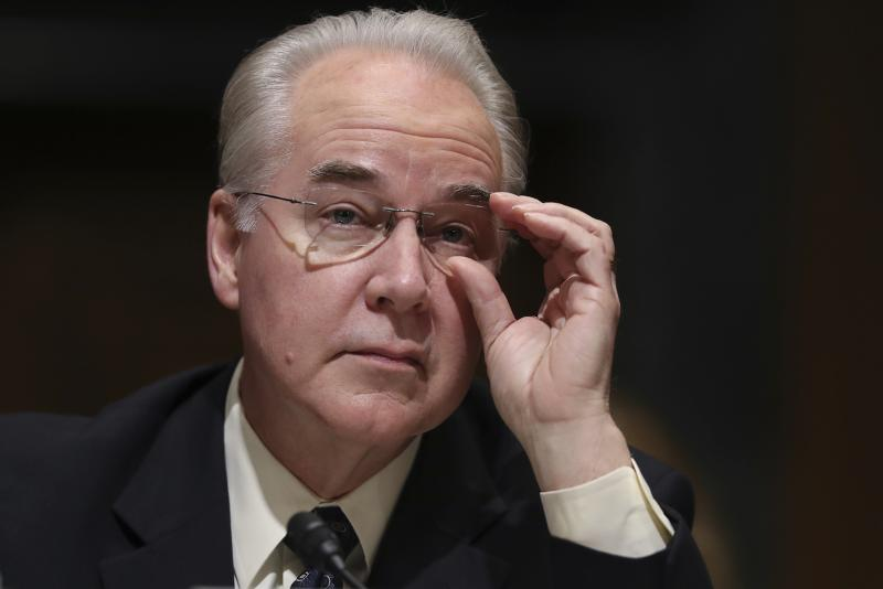 Health and Human Services Secretary-designate, Rep. Tom Price, R-Ga. pauses while testifying on Capitol Hill in Washington, Tuesday, Jan. 24, 2017, at his confirmation hearing before the Senate Finance Committee.