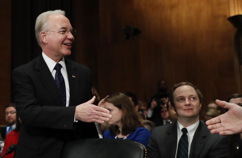 Health and Human Services Secretary-designate, Rep. Tom Price, R-Ga., left, is greeted on Capitol Hill in Washington, Wednesday, Jan. 18, 2017, prior to testifying his confirmation hearing before the Senate Health, Education, Labor and Pensions Committee.