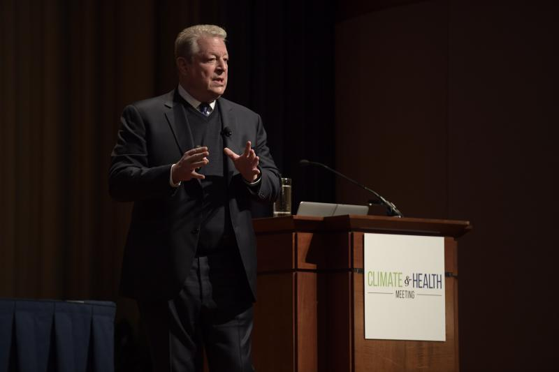 Former Vice President Al Gore deliverings the opening keynote at the Climate and Health Meeting at the Carter Center in Atlanta