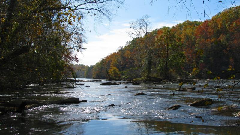 The Chattahoochee River (pictured) flows south where it eventually joins with the Flint River to form the Apalachicola River.
