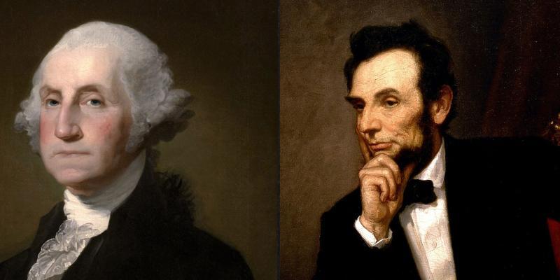 Portraits of George Washington and Abraham Lincoln.