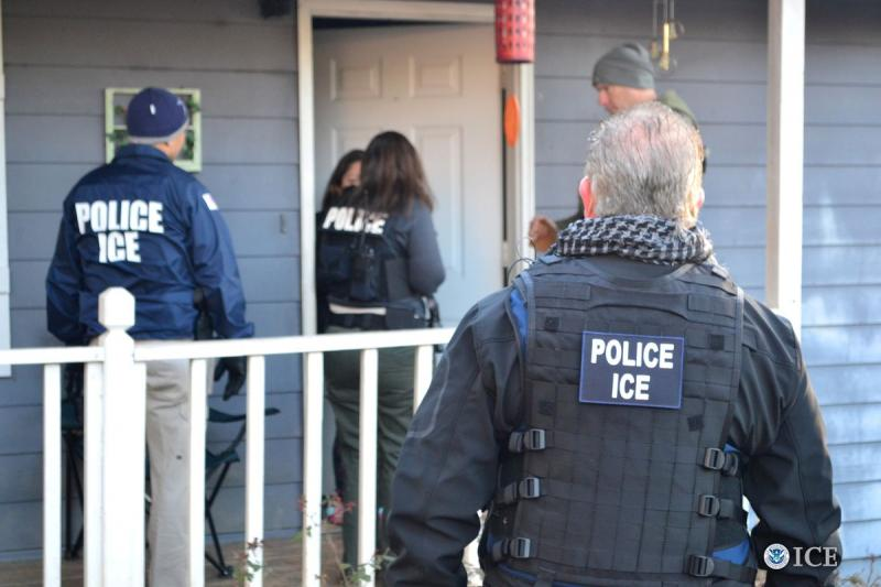 U.S. Immigration and Customs Enforcement (ICE) officers conduct a targeted enforcement operation in Atlanta, Georgia, on February 9, 2017.