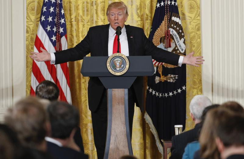 President Donald Trump speaks during a news conference in the East Room of the White House in Washington, Thursday, Feb. 16, 2017.