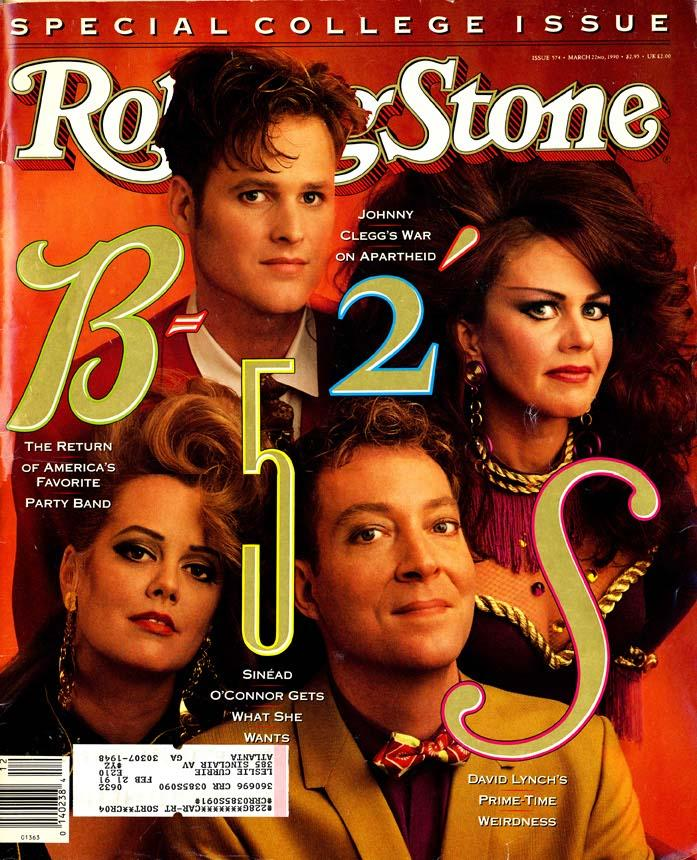 The B-52s on the cover of Rolling Stone 1990