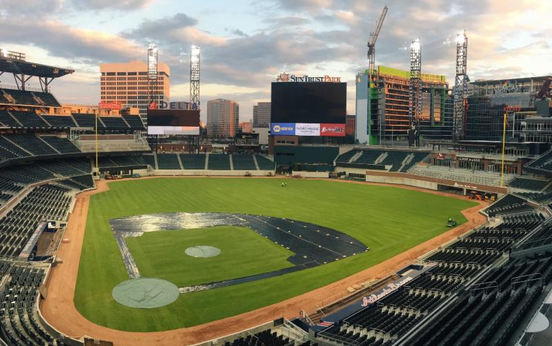 The field at SunTrust Park, the new home of the Atlanta Braves.