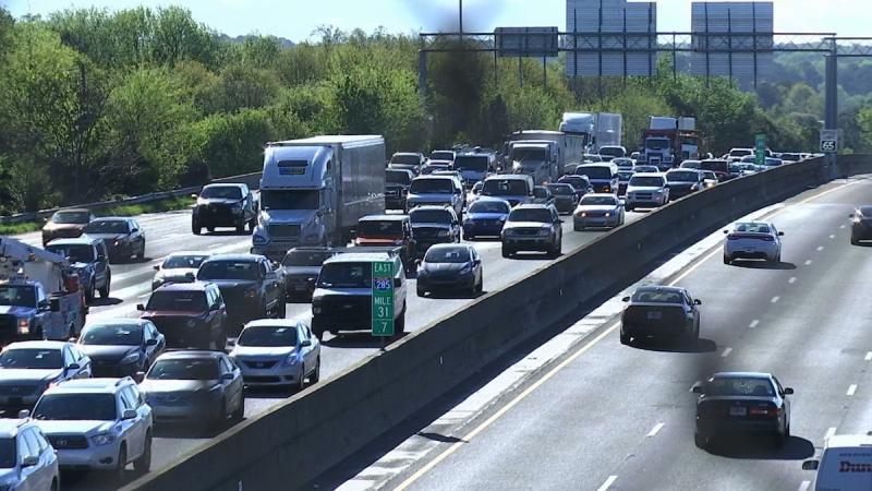 Traffic on an interstate.