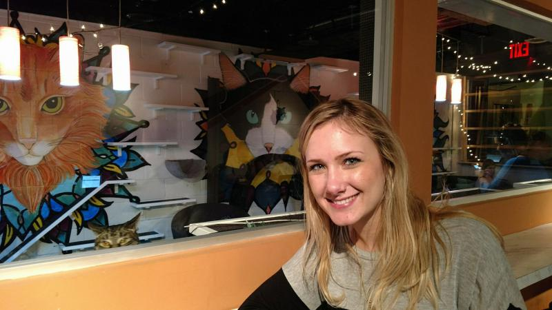 Haydn Hilton, 25, started Java Cats Café in Atlanta. Here she is at the coffee shop  on April 5, 2017.