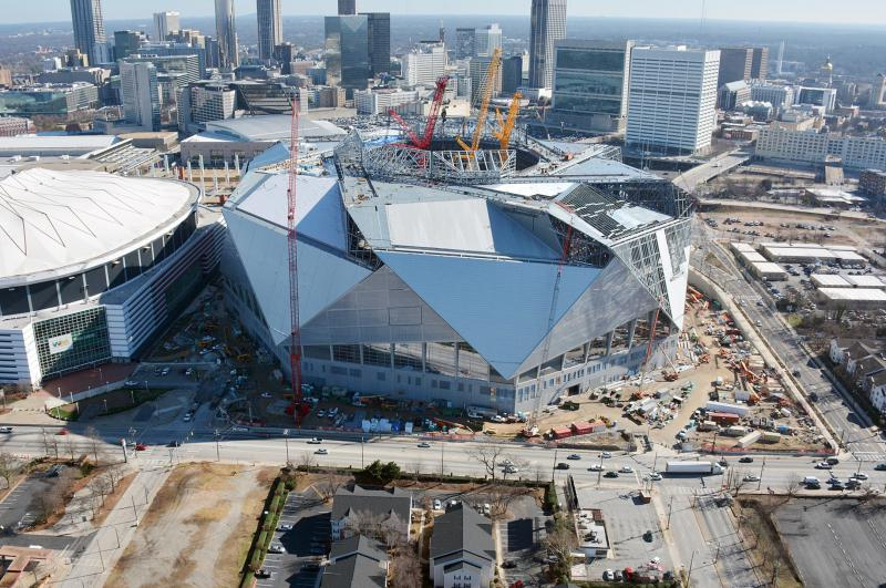Due to construction delays, the new opening date of the stadium is the Atlanta Falcons' August 26 NFL preseason game against Arizona.