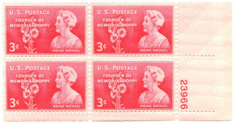 A commemorative stamp featuring Moina Michael, who brought the red poppy to the spotlight as a symbol of remembrance for those who died during war.