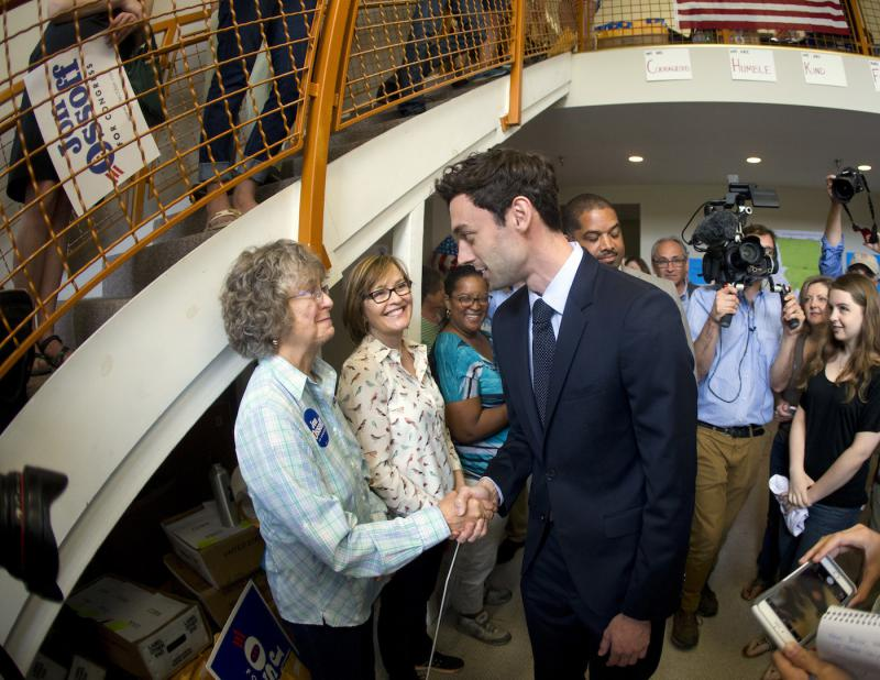 Democratic candidate for Georgia's Sixth Congressional seat Jon Ossoff greets supporters at a campaign field office Tuesday, April 18, 2017, in Marietta.
