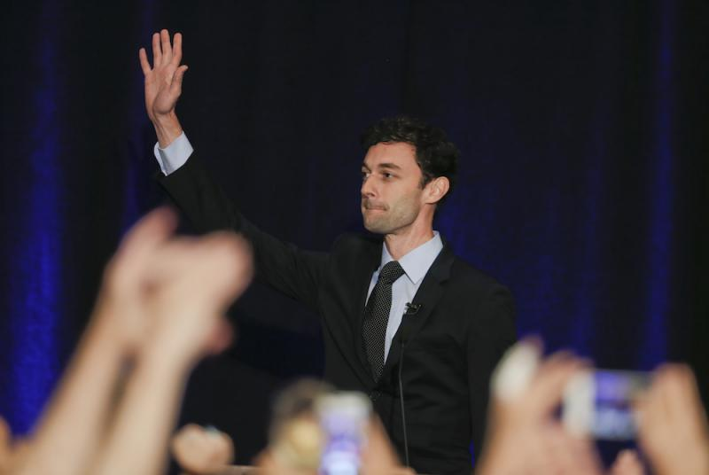 Democratic candidate for Georgia's Sixth Congressional Seat Jon Ossoff waves to supporters after speaking during an election-night watch party Tuesday, April 18, 2017, in Dunwoody, Ga.