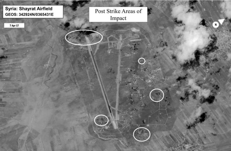 A damage assessment image of Shayrat air base in Syria, following U.S. Tomahawk Land Attack Missile strikes on April 7, 2017 from the USS Ross and USS Porter, Arleigh Burke-class guided-missile destroyers.
