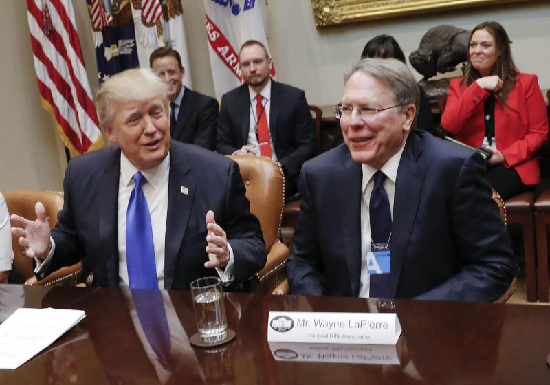 President Donald Trump speaks during a meeting in the Roosevelt Room of the White House in Washington, Wednesday, Feb. 1, 2017. On the right is National Rifle Associations (NRA) Executive Vice President and Chief Executive Officer Wayne LaPierre.