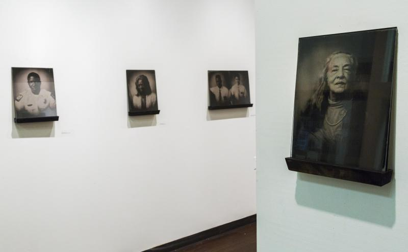 Some of Kathryn Mayo's Selma Portraits on display at Wesleyan College in Macon, Ga.