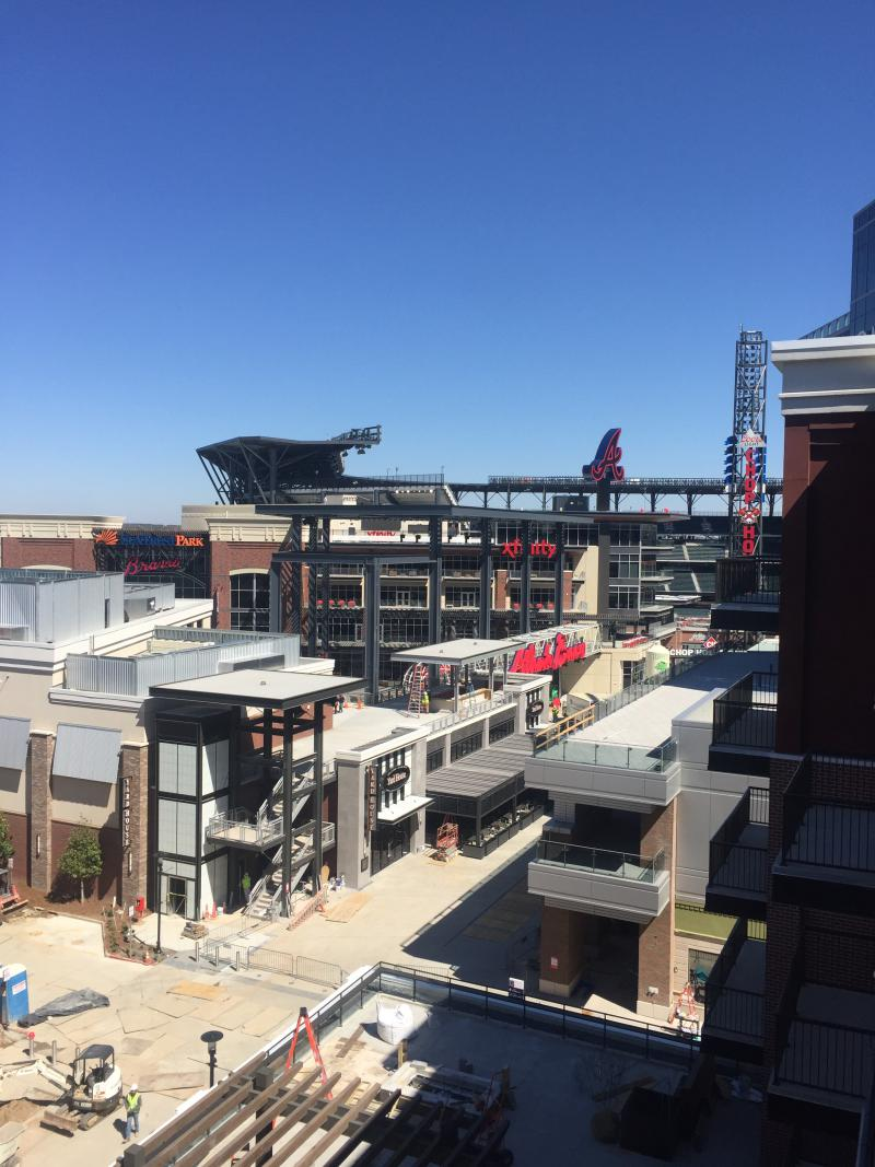 The view of SunTrust Park from The Battery apartments