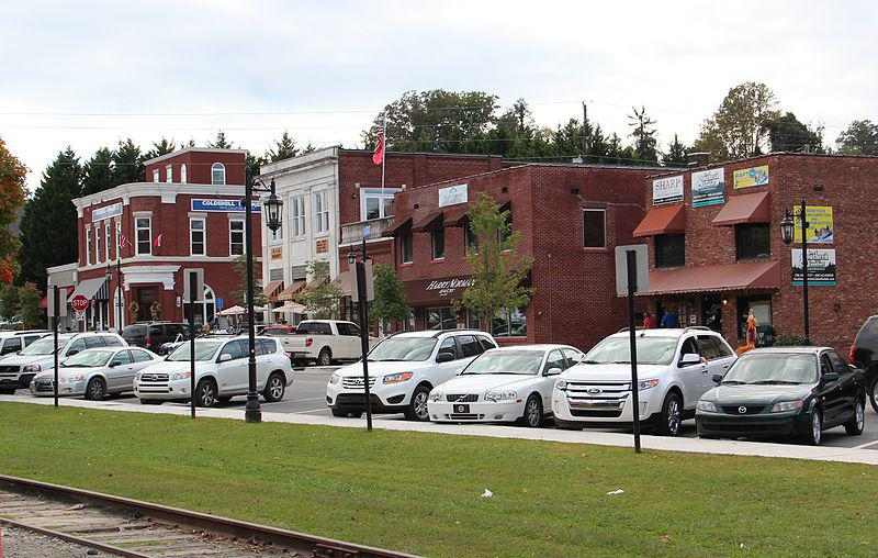 Downtown Blue Ridge, GA is built around an historic train depot.