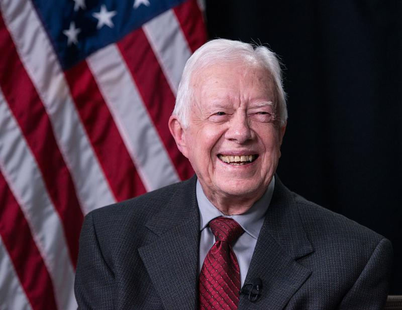 Carter during a Google Hangout session held during the LBJ Presidential Library Civil Rights Summit in 2014.