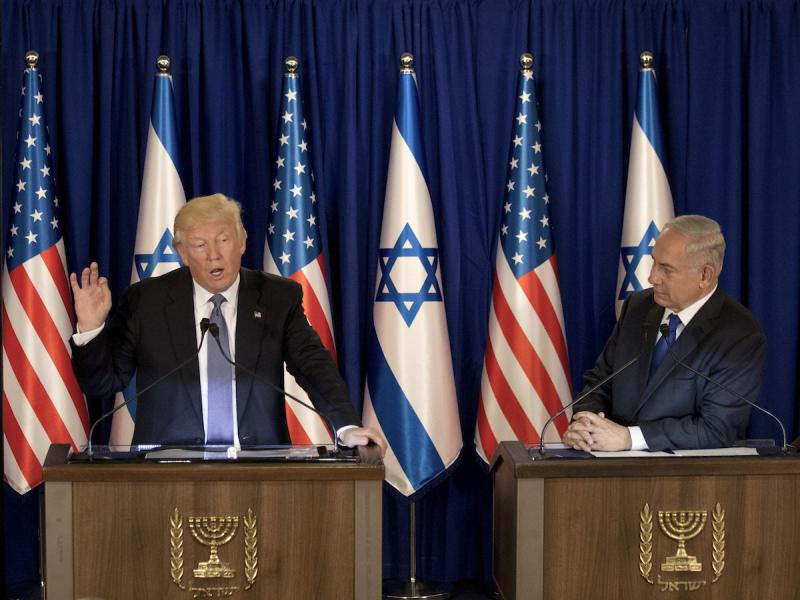 US President Donald Trump talks during a briefing after his meeting with Israeli Prime Minister Benjamin Netanyahu, right, in Jerusalem, Monday, May 22, 2017.