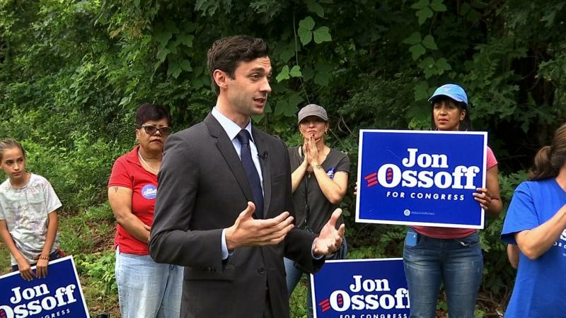 Democrat Jon Ossoff addresses supporters outside of the East Roswell Library in Roswell, Ga., Tuesday, May 30, 2017.
