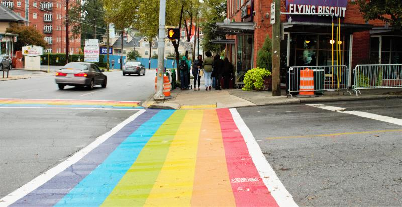 A temporary rainbow crossing at 10th and Piedmont in Atlanta. There's a plan to make this design permanent.