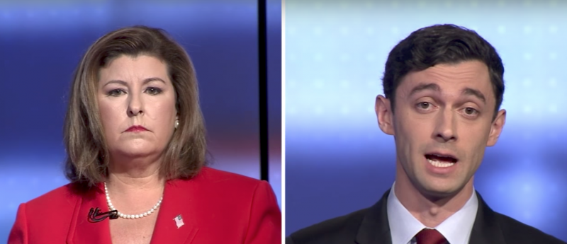 Republican Karen Handel and Democrat Jon Ossoff faced off in their first debate Tuesday, June 6, 2017.