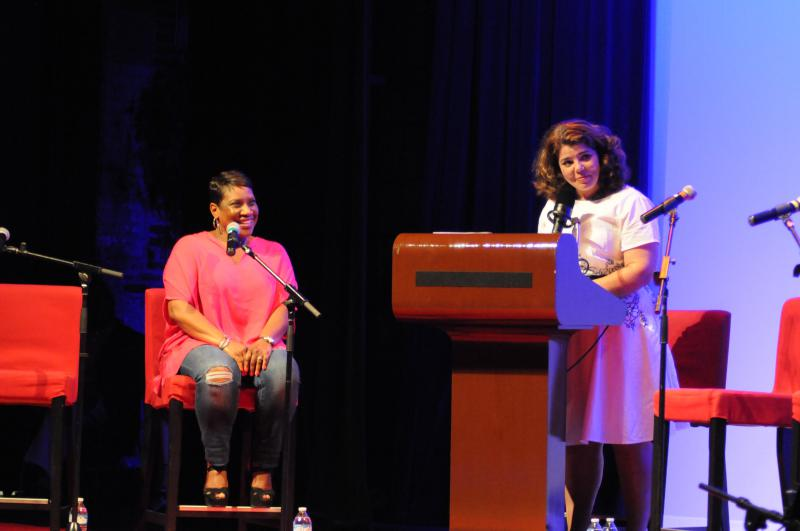 Host Celeste Headlee with Karla Redding Andrews of the Otis Redding Foundation.