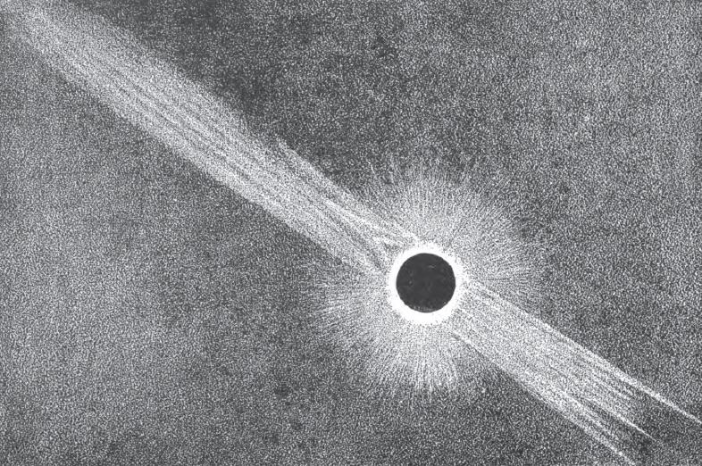 Corona of July 29, 1878 solar eclipse observed from the summit of Pikes Peak in Colorado.