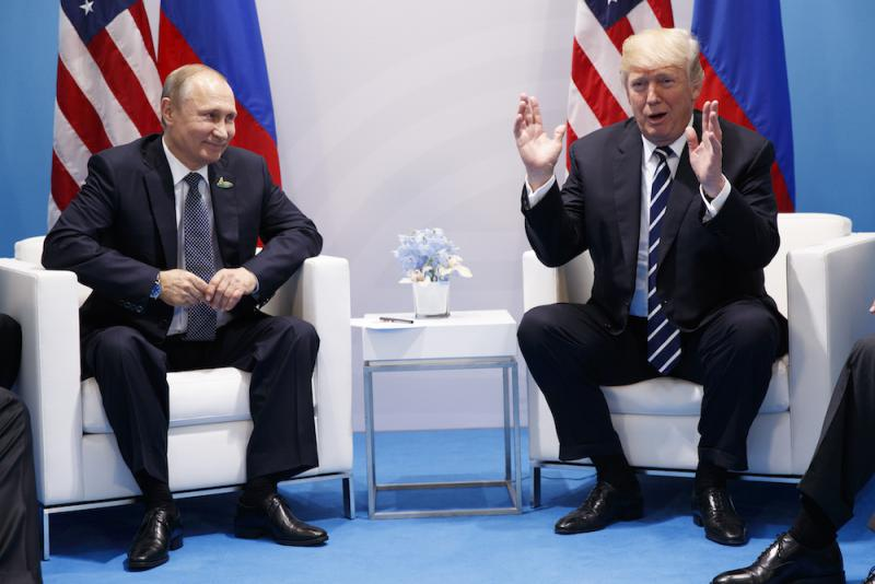 President Donald Trump speaks during a meeting with Russian President Vladimir Putin at the G20 Summit, Friday, July 7, 2017, in Hamburg.