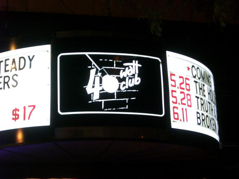 The marquee of the 40 Watt Club in Athens, Georgia.