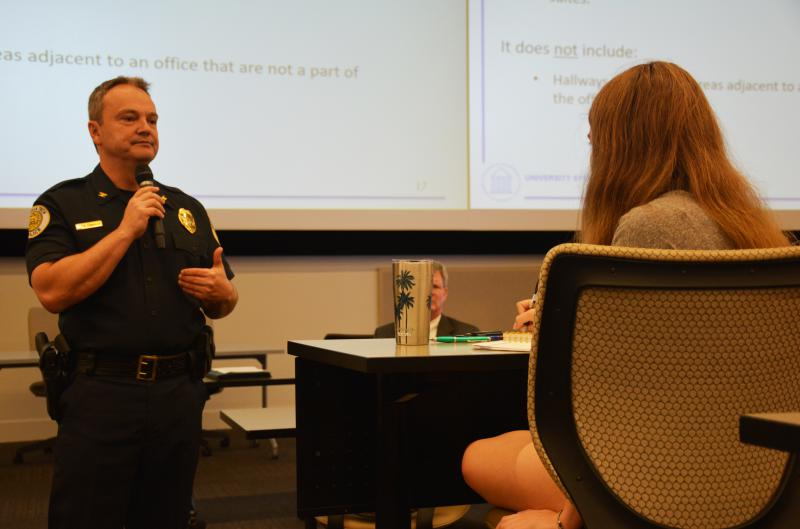 Georgia Tech Police Department Chief Robert Connolly answers a student's question about the 'campus carry' law.