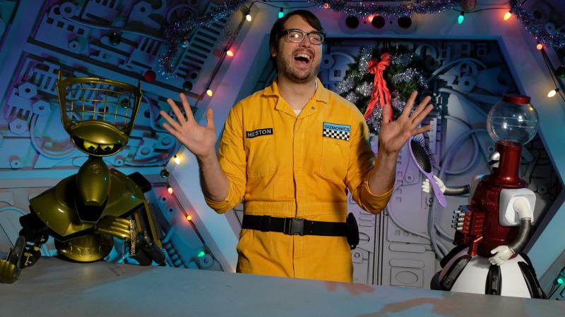 Robots Crow and Tom Servo and their human Jonah Ray in the new Mystery Science Theater 3000 on Netflix.
